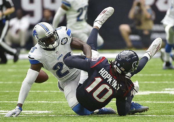 "<div class=""meta image-caption""><div class=""origin-logo origin-image ap""><span>AP</span></div><span class=""caption-text"">Detroit Lions defensive back Johnson Bademosi (29) causes Houston Texans' DeAndre Hopkins (10) to fumble during the second half of an NFL football game. (AP Photo/Eric Christian Smith)</span></div>"