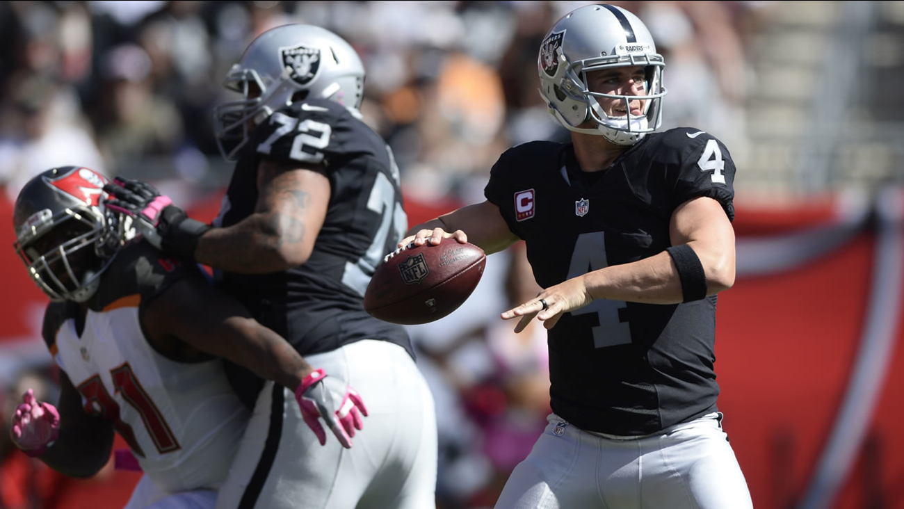 Raiders quarterback Derek Carr (4) throws a pass against the Tampa Bay Buccaneers during the fourth quarter of an NFL football game Sunday, Oct. 30, 2016, in Tampa, Fla. (AP Photo)