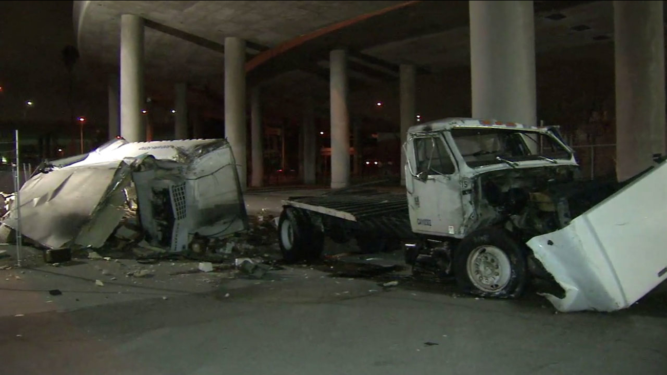 The remains of a box truck that flew off a 110 Freeway overpass in downtown Los Angeles on Tuesday, Nov. 1, 2016.