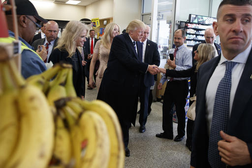"""<div class=""""meta image-caption""""><div class=""""origin-logo origin-image ap""""><span>AP</span></div><span class=""""caption-text"""">Republican presidential candidate Donald Trump talks with customers during a visit to a Wawa gas station, Tuesday, Nov. 1, 2016, in King of Prussia, Pa. (AP Photo/ Evan Vucci)</span></div>"""