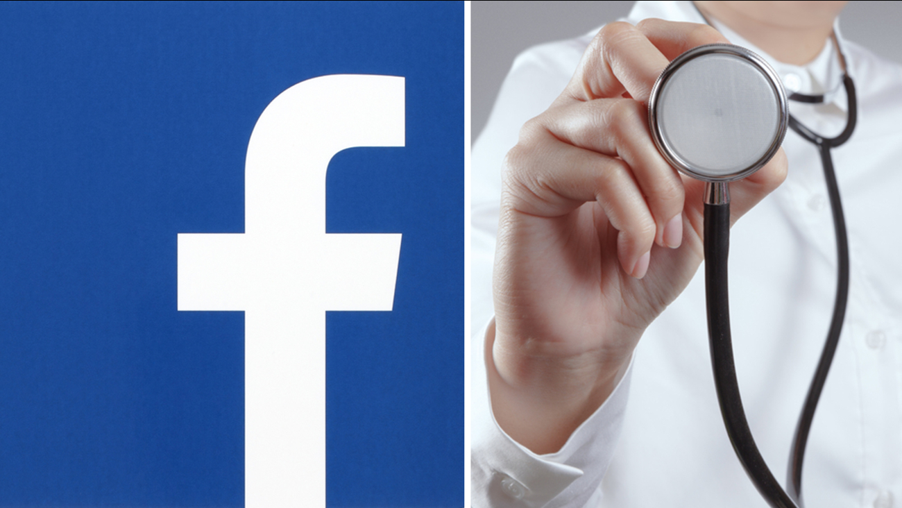 Image of Facebook logo and stock image of doctor with stethoscope.