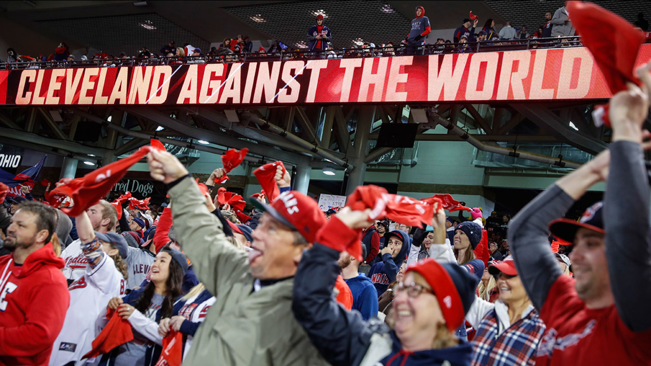 Cleveland Indians fans cheer during a Game 5 watch party for the World Series against the Chicago Cubs at Progressive Field, Sunday, Oct. 30, 2016, in Cleveland.