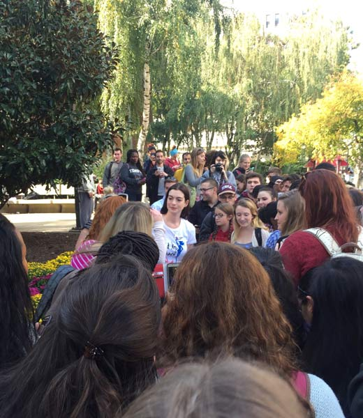 <div class='meta'><div class='origin-logo' data-origin='none'></div><span class='caption-text' data-credit='Twitter / Eric Rivera'>Anne Hathaway stumps for Hillary Clinton at Temple University.</span></div>