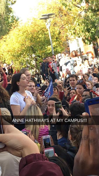 <div class='meta'><div class='origin-logo' data-origin='none'></div><span class='caption-text' data-credit='Twitter / Melissa'>Anne Hathaway stumps for Hillary Clinton at Temple University.</span></div>