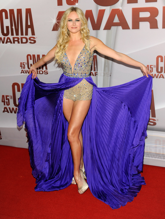 "<div class=""meta image-caption""><div class=""origin-logo origin-image none""><span>none</span></div><span class=""caption-text"">Laura Bell Bundy arrives at the 45th Annual CMA Awards in Nashville on Wednesday, Nov. 9, 2011. (Evan Agostini/AP)</span></div>"