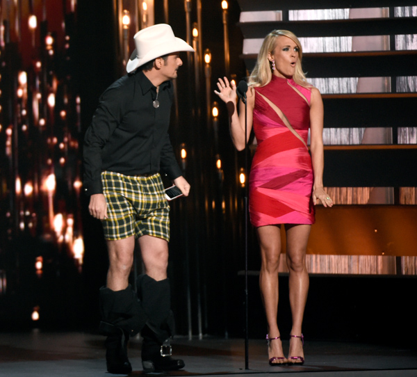 "<div class=""meta image-caption""><div class=""origin-logo origin-image none""><span>none</span></div><span class=""caption-text"">Brad Paisley, left, and Carrie Underwood perform a skit at the 49th annual CMA Awards at the Bridgestone Arena on Wednesday, Nov. 4, 2015, in Nashville, Tenn. (Chris Pizzello/Invision/AP)</span></div>"