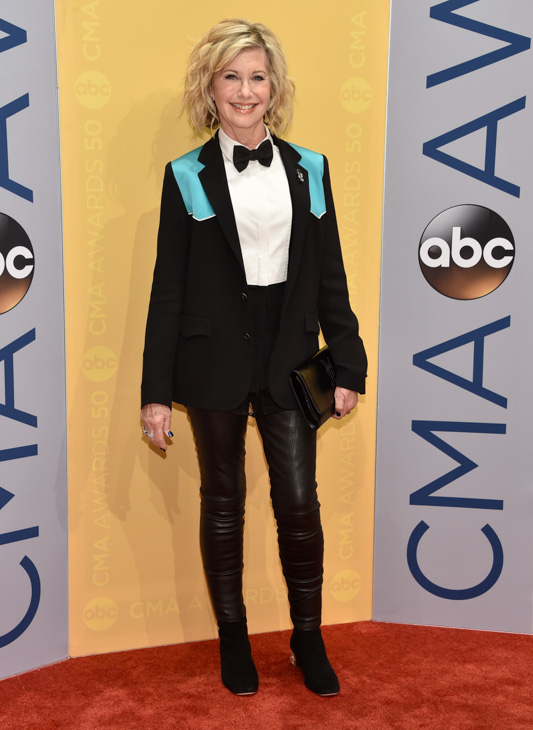 "<div class=""meta image-caption""><div class=""origin-logo origin-image none""><span>none</span></div><span class=""caption-text"">Olivia Newton John arrives at the 50th annual CMA Awards at the Bridgestone Arena on Wednesday, Nov. 2, 2016, in Nashville, Tenn. (Evan Agostini/Invision/AP)</span></div>"