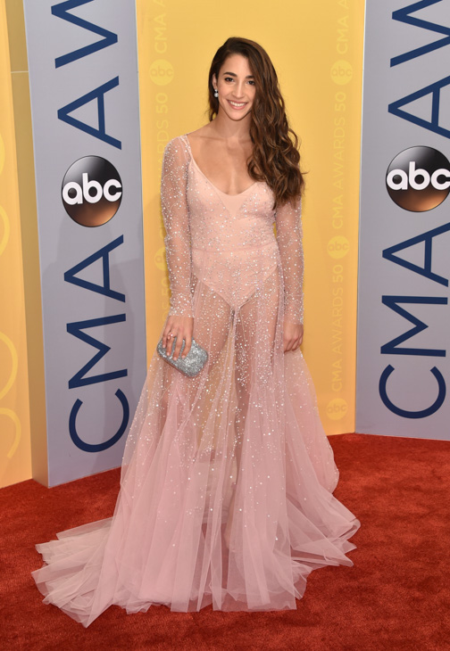 "<div class=""meta image-caption""><div class=""origin-logo origin-image none""><span>none</span></div><span class=""caption-text"">Aly Raisman arrives at the 50th annual CMA Awards at the Bridgestone Arena on Wednesday, Nov. 2, 2016, in Nashville, Tenn. (Evan Agostini/Invision/AP)</span></div>"