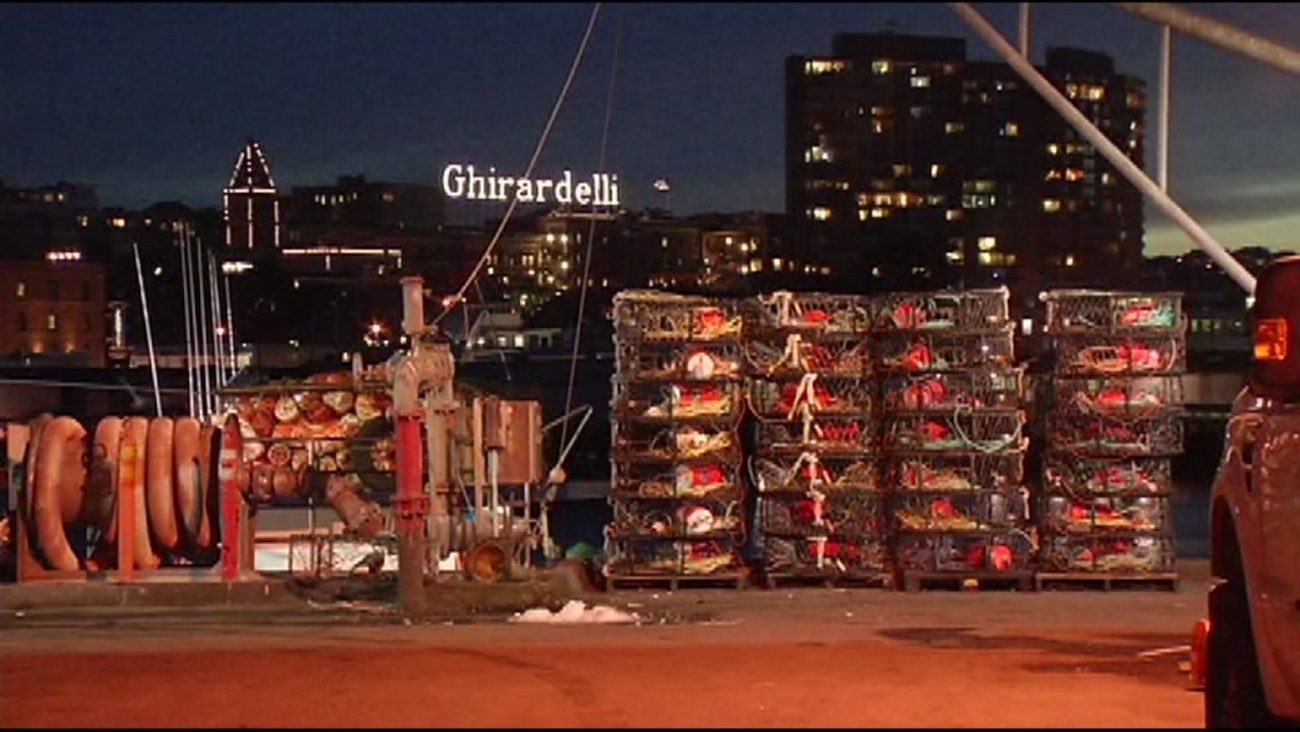This is an undated image of crab being unloaded in the San Francisco Bay.