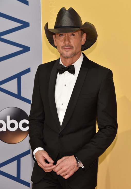 "<div class=""meta image-caption""><div class=""origin-logo origin-image none""><span>none</span></div><span class=""caption-text"">Tim McGraw arrives at the 50th annual CMA Awards at the Bridgestone Arena on Wednesday, Nov. 2, 2016, in Nashville, Tenn. (Evan Agostini/Invision/AP)</span></div>"