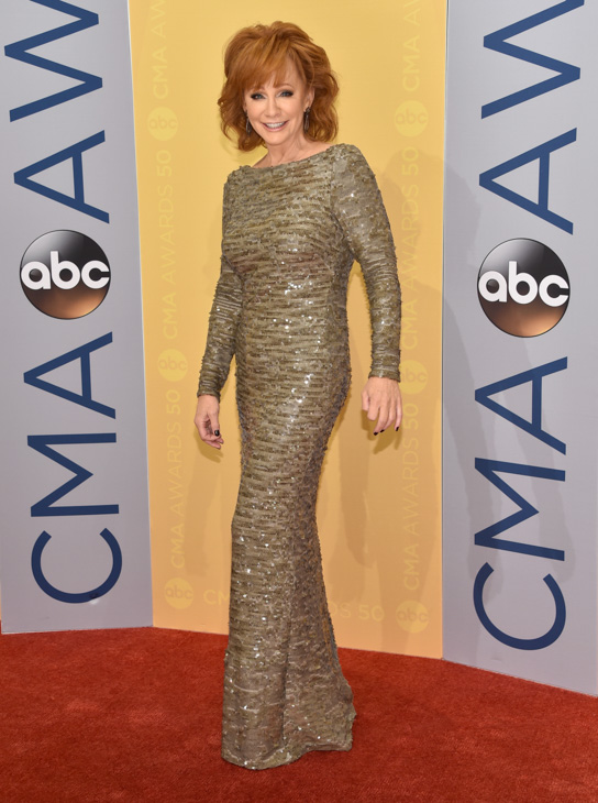 "<div class=""meta image-caption""><div class=""origin-logo origin-image none""><span>none</span></div><span class=""caption-text"">Reba McEntire arrives at the 50th annual CMA Awards at the Bridgestone Arena on Wednesday, Nov. 2, 2016, in Nashville, Tenn. (Evan Agostini/Invision/AP)</span></div>"