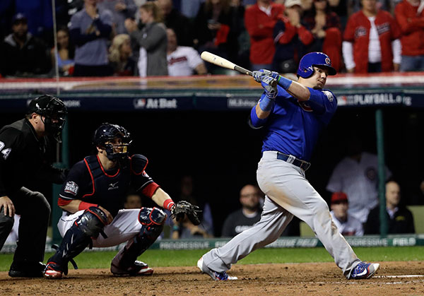 "<div class=""meta image-caption""><div class=""origin-logo origin-image none""><span>none</span></div><span class=""caption-text"">Chicago Cubs' Kyle Schwarber hits a single during the 10th inning of Game 7. (AP Photo/David J. Phillip)</span></div>"