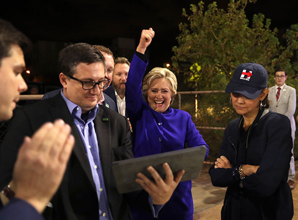 "<div class=""meta image-caption""><div class=""origin-logo origin-image none""><span>none</span></div><span class=""caption-text"">Presidential candidate Hillary Clinton watches the World Series baseball game between the Chicago Cubs and the Cleveland Indians after her final campaign rally of the day. (AP Photo/Andrew Harnik)</span></div>"