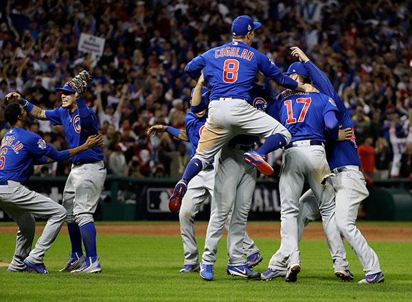 "<div class=""meta image-caption""><div class=""origin-logo origin-image none""><span>none</span></div><span class=""caption-text"">The Chicago Cubs celebrate after Game 7 of the Major League Baseball World Series against the Cleveland Indians. (AP Photo/David J. Phillip)</span></div>"