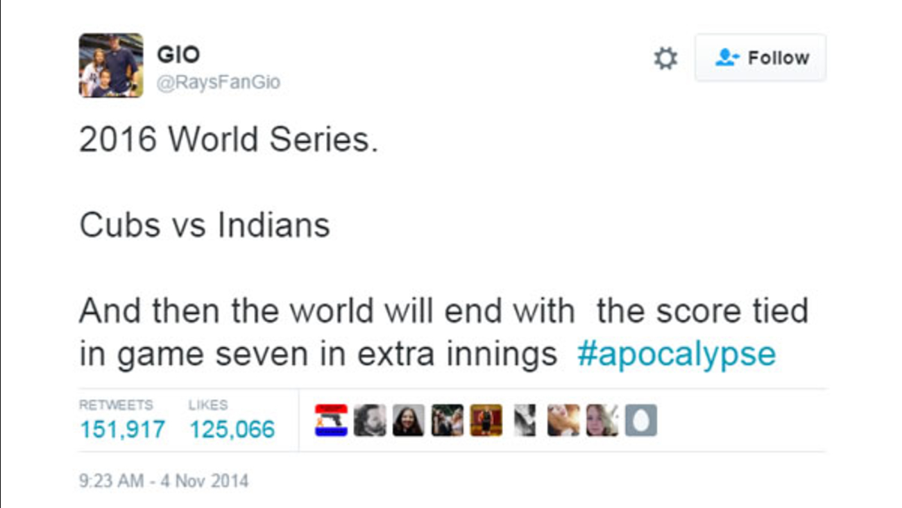 A tweet from 2014 predicted the exact World Series scenario the Cubs and Indians faced on Wednesday, Nov. 2, 2016 in Cleveland.