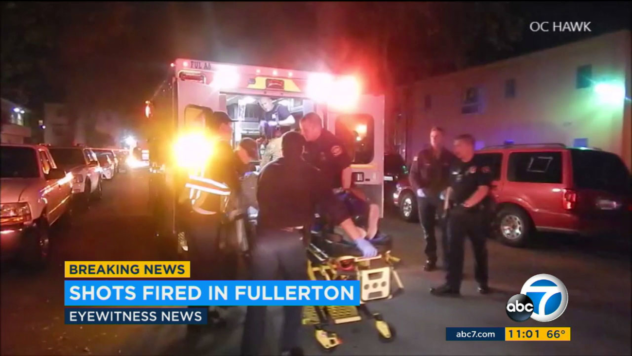 At least two people were transported to a hospital after a shooting in Fullerton on Thursday, Nov. 3, 2016.
