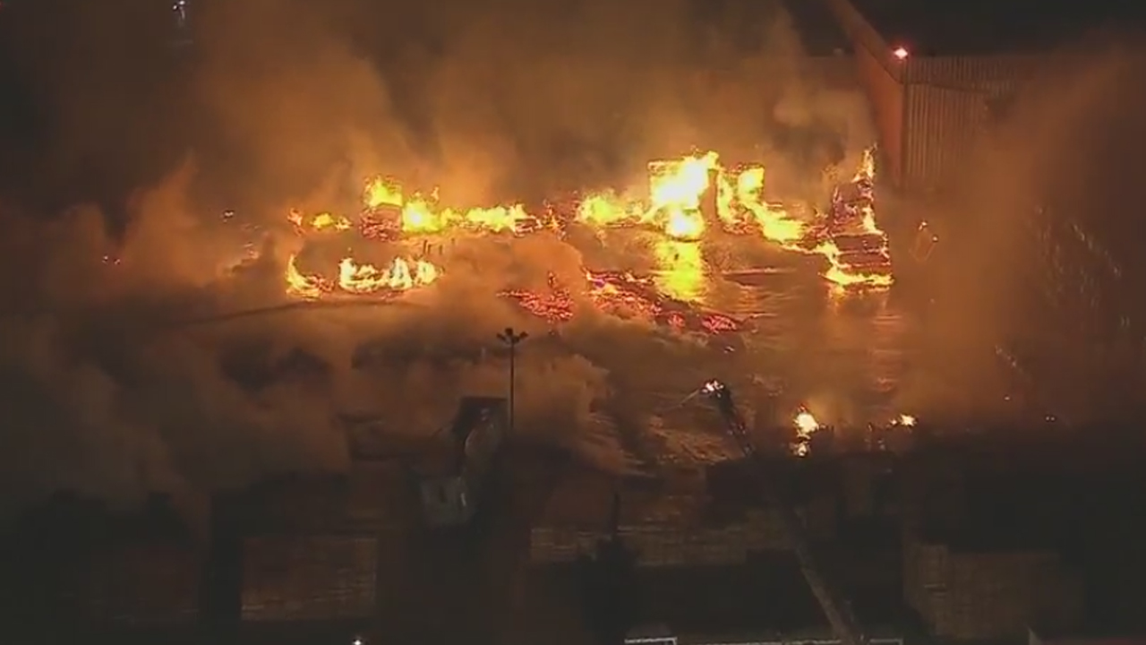 Firefighters attacked massive flames at a pallet yard in San Bernardino on Friday, Nov. 4, 2016.