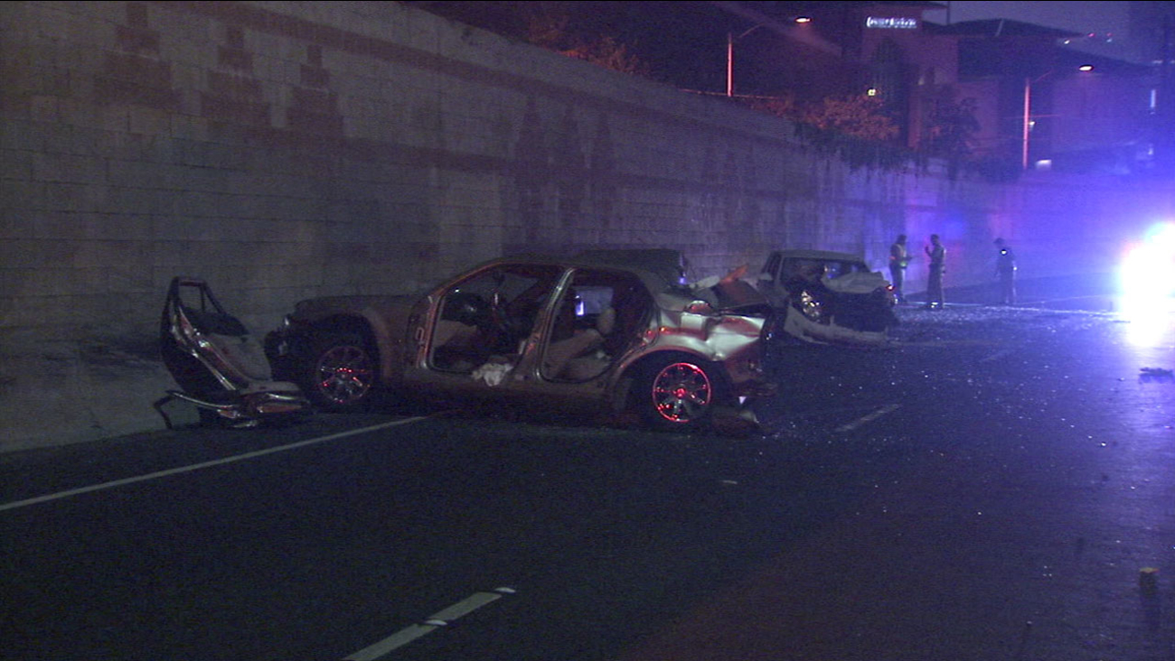 Authorities investigated the scene of a three-car crash on the 110 Freeway in Elysian Park that left four people seriously injured on Saturday, Nov. 4, 2016.