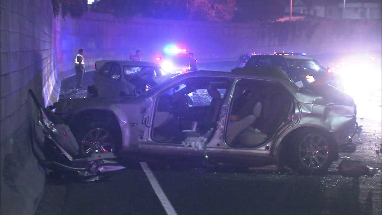 A four-month-old girl died and three people were injured in a three-vehicle crash on the 110 Freeway in Elysian Park on Saturday Nov. 5, 2016, officials said.