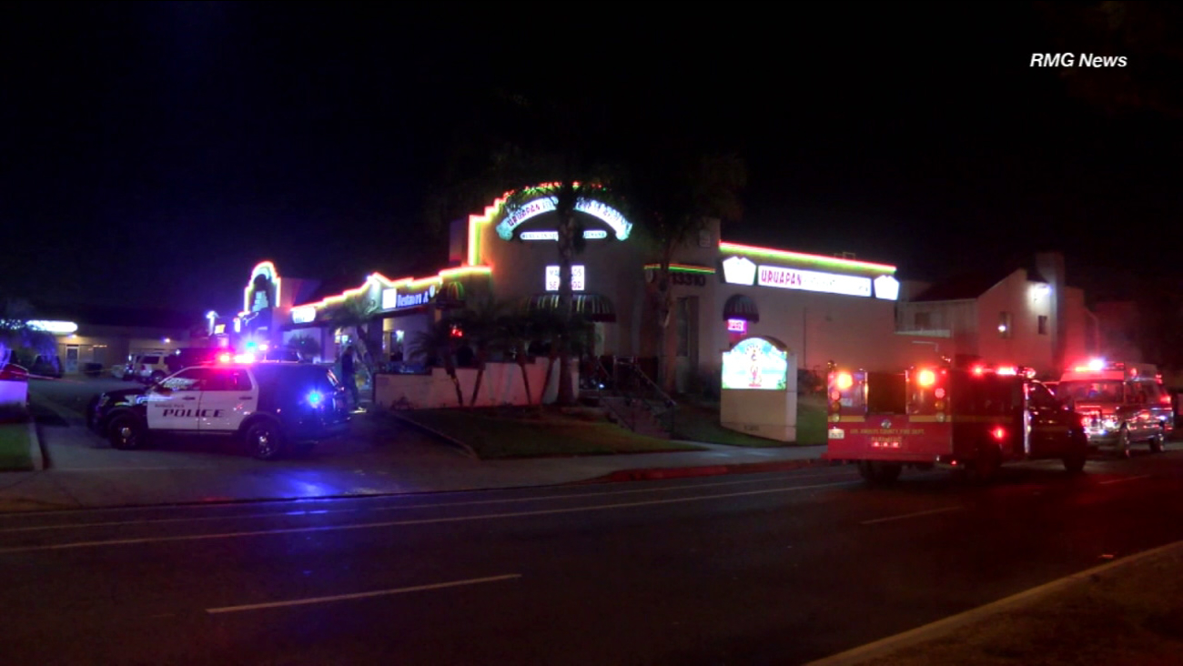 Police and paramedics responded to a restaurant in Baldwin Park after a fatal shooting on Sunday, Nov. 11, 2016.