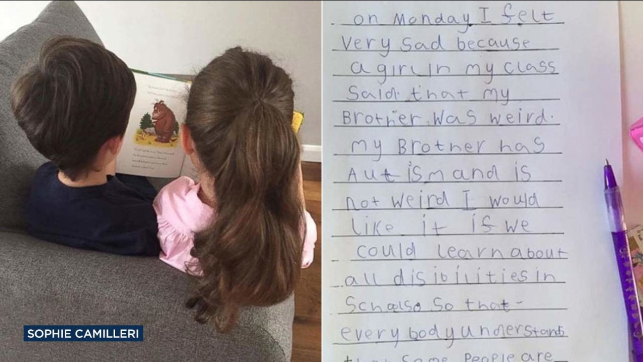 Sophie Camilleri's two children, Frank and Lex, are shown reading together. Lex wrote a letter defending her brother, who has autism, after someone at school called him 'weird.'