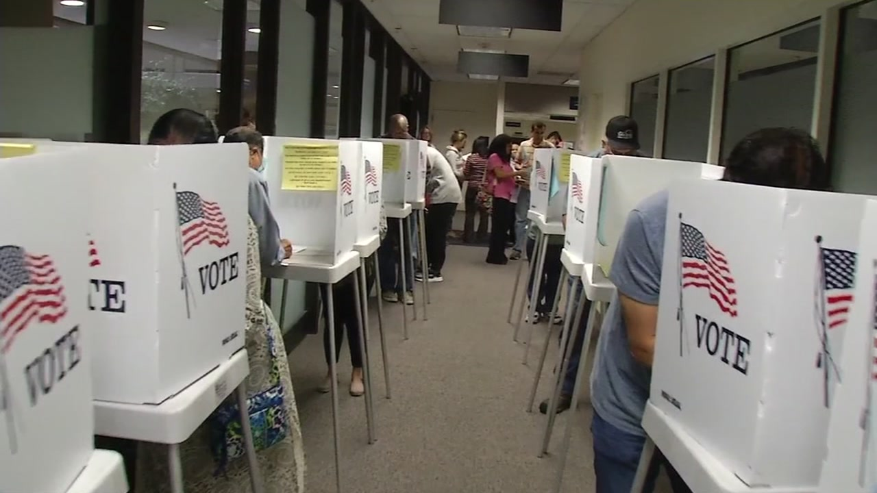Voters line up at Santa Clara County Registrar of Voters, Monday, November 7, 2016.