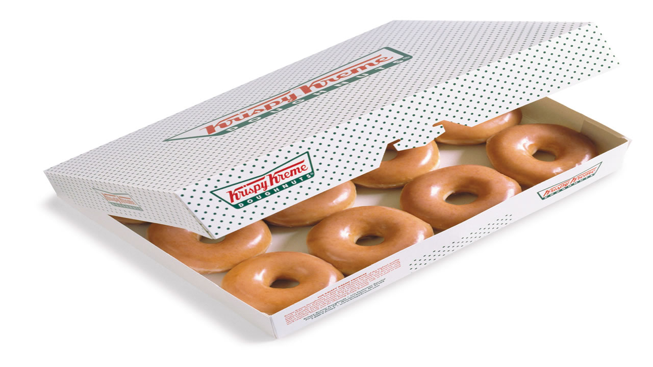 This is an undated image of a Krispy Kreme box.