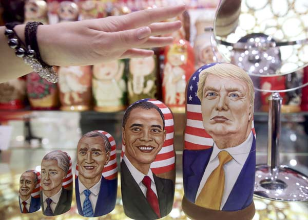 <div class='meta'><div class='origin-logo' data-origin='AP'></div><span class='caption-text' data-credit='AP Photo/Pavel Golovkin'>Traditional Russian wooden dolls called Matreska depict US presidents and Donald Trump</span></div>