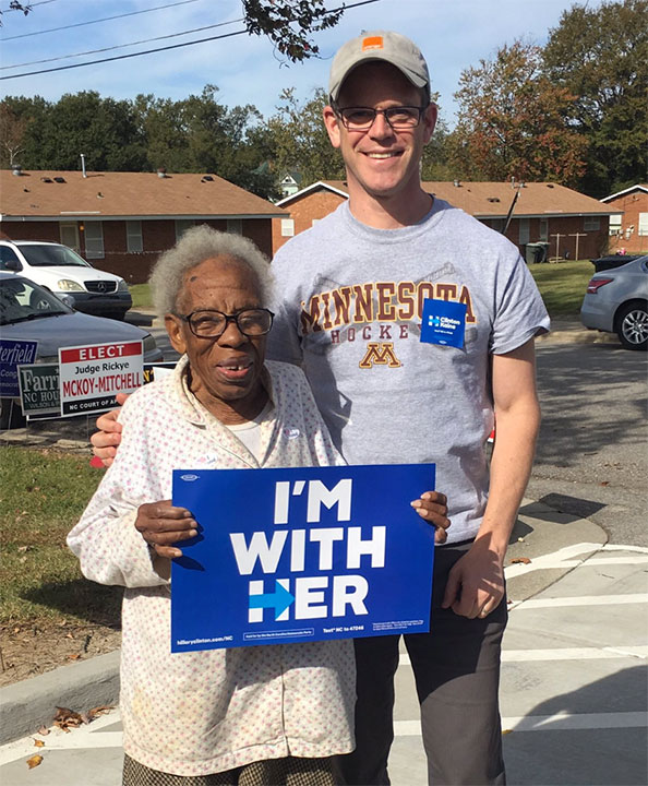 "<div class=""meta image-caption""><div class=""origin-logo origin-image none""><span>none</span></div><span class=""caption-text"">Kevin McGilly shared on Twitter, ''Life made. I just drove Ms. Ethel Harris, age 100, to vote for the first woman President. #ImWithHer.'' (Kevin McGilly/Twitter)</span></div>"