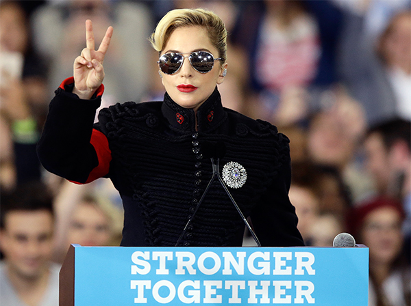 """<div class=""""meta image-caption""""><div class=""""origin-logo origin-image ap""""><span>AP</span></div><span class=""""caption-text"""">Lady Gaga addresses supporters gathered in support of Democratic presidential candidate Hillary Clinton in Raleigh, N.C., Tuesday, Nov. 8, 2016. (Gerry Broome/AP)</span></div>"""