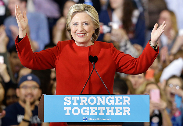"""<div class=""""meta image-caption""""><div class=""""origin-logo origin-image ap""""><span>AP</span></div><span class=""""caption-text"""">Democratic presidential candidate Hillary Clinton speaks during a campaign rally in Raleigh, N.C., Tuesday, Nov. 8, 2016. (Gerry Broome/AP)</span></div>"""