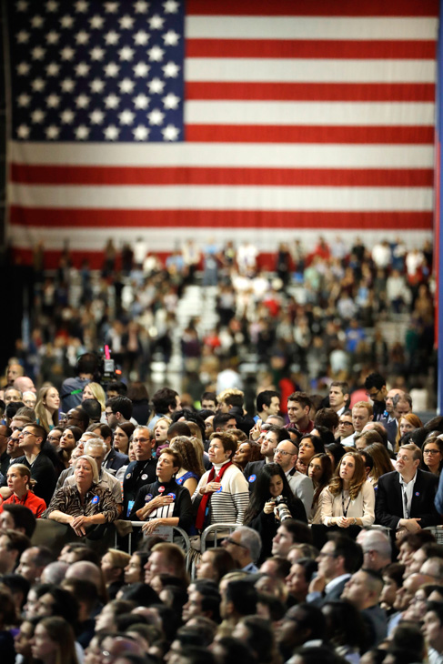 "<div class=""meta image-caption""><div class=""origin-logo origin-image none""><span>none</span></div><span class=""caption-text"">Guests recite the Pledge of Allegiance during Democratic presidential nominee Hillary Clinton's election night rally in the Jacob Javits Center in New York, Tuesday, Nov. 8, 2016. (David Goldman/AP Photo)</span></div>"