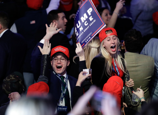 <div class='meta'><div class='origin-logo' data-origin='none'></div><span class='caption-text' data-credit='John Locher/AP'>Supporters of Republican presidential candidate Donald Trump react as they watch the election results during Trump's election night rally, Tuesday, Nov. 8, 2016, in New York.</span></div>