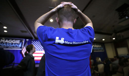 """<div class=""""meta image-caption""""><div class=""""origin-logo origin-image ap""""><span>AP</span></div><span class=""""caption-text"""">Matt Sanborn of Laconia, N.H., rests his hands on the top of his head while watching election returns during an election night rally in Manchester, N.H. (AP Photo/Charles Krupa)</span></div>"""