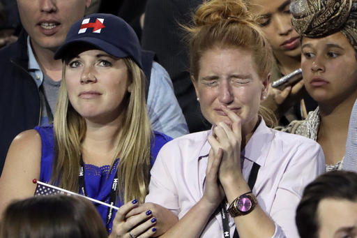 """<div class=""""meta image-caption""""><div class=""""origin-logo origin-image ap""""><span>AP</span></div><span class=""""caption-text"""">Supporters watch the election results during Democratic presidential nominee Hillary Clinton's election night rally in the Jacob Javits Center glass enclosed lobby in New York. (AP Photo/Matt Rourke)</span></div>"""