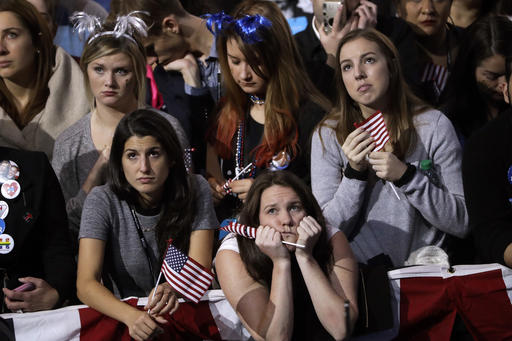 "<div class=""meta image-caption""><div class=""origin-logo origin-image ap""><span>AP</span></div><span class=""caption-text"">Supporters watch the election results during Democratic presidential nominee Hillary Clinton's election night rally in the Jacob Javits Center glass enclosed lobby in New York. (AP Photo/Matt Rourke)</span></div>"