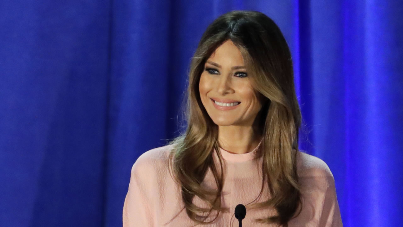 In this Nov. 3, 2016 file photo, Melania Trump, wife of Republican presidential candidate Donald Trump, speaks in Berwyn, Pa.