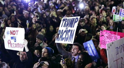 <div class='meta'><div class='origin-logo' data-origin='none'></div><span class='caption-text' data-credit='AP Photo/Charles Krupa)'>Hundreds protest in opposition of Donald Trump's presidential election victory on Boston Common in Boston, Wednesday evening, Nov. 9, 2016.</span></div>