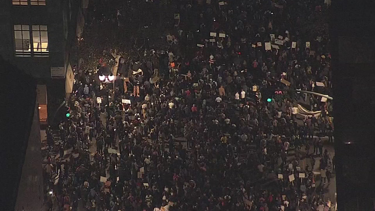<div class='meta'><div class='origin-logo' data-origin='none'></div><span class='caption-text' data-credit='KGO-TV'>Bay Area residents are protesting Donald Trump and the results of the 2016 election.</span></div>