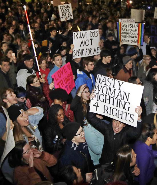 <div class='meta'><div class='origin-logo' data-origin='AP'></div><span class='caption-text' data-credit='AP'>Hundreds protest in opposition of Donald Trump's presidential election victory on Boston Common in Boston, Wednesday evening, Nov. 9, 2016. (AP Photo/Charles Krupa)</span></div>