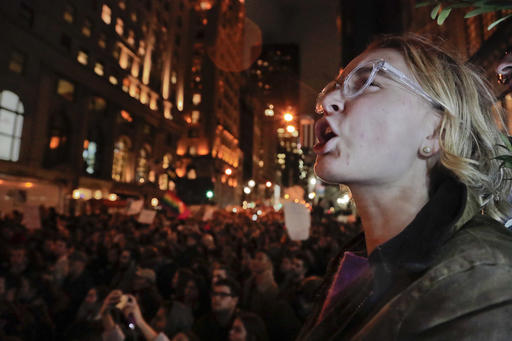 <div class='meta'><div class='origin-logo' data-origin='AP'></div><span class='caption-text' data-credit='AP Photo/Julie Jacobson'>A protester chants slogans along with a crowd gathered outside Trump Tower in Fifth Avenue, Wednesday, Nov. 9, 2016, in New York.</span></div>