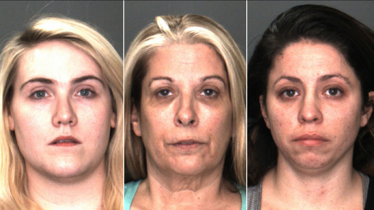 Sagan Marriott, 27 (L),  Deborah Jimenez, 52 (C) and Rebecca Lutz, 29 (L), are shown in mugshots.