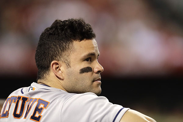 "<div class=""meta image-caption""><div class=""origin-logo origin-image ap""><span>AP</span></div><span class=""caption-text"">Houston Astros' Jose Altuve watches from the dugout during the fifth inning of a baseball game against the Los Angeles Angels, Saturday, Oct. 1, 2016, in Anaheim, Calif. ((AP Photo/Jae C. Hong))</span></div>"