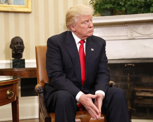 <div class='meta'><div class='origin-logo' data-origin='AP'></div><span class='caption-text' data-credit='AP Photo/Pablo Martinez Monsivais'>President-elect Donald Trump listens during his meeting with President Barack Obama in the Oval Office of the White House in Washington, Thursday, Nov. 10, 2016.</span></div>