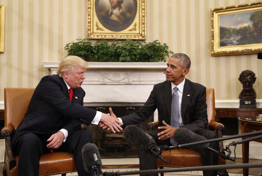 <div class='meta'><div class='origin-logo' data-origin='AP'></div><span class='caption-text' data-credit='AP Photo/Pablo Martinez Monsivais'>President Barack Obama shakes hands with President-elect Donald Trump in the Oval Office of the White House in Washington, Thursday, Nov. 10, 2016.</span></div>