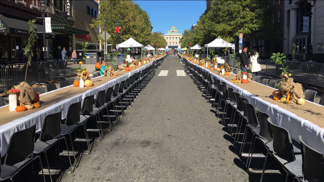 126 tables were set up on Fayetteville Street in downtown Raleigh
