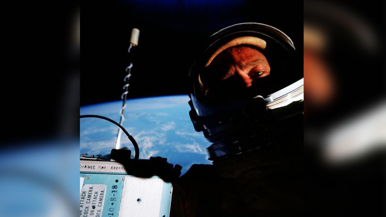 First selfie taken from space of Buzz Aldrin