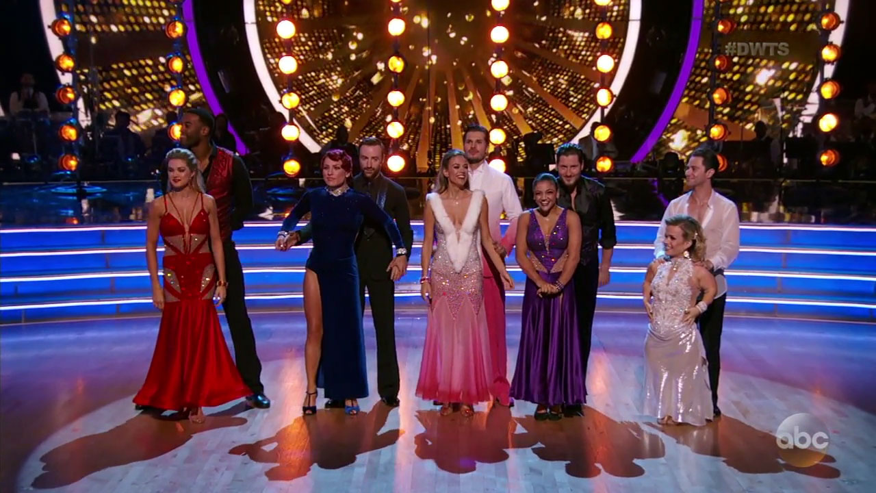 """Dancing with the Stars"" started the night with five couples, but one was eliminated before the show's two-night finale next week."