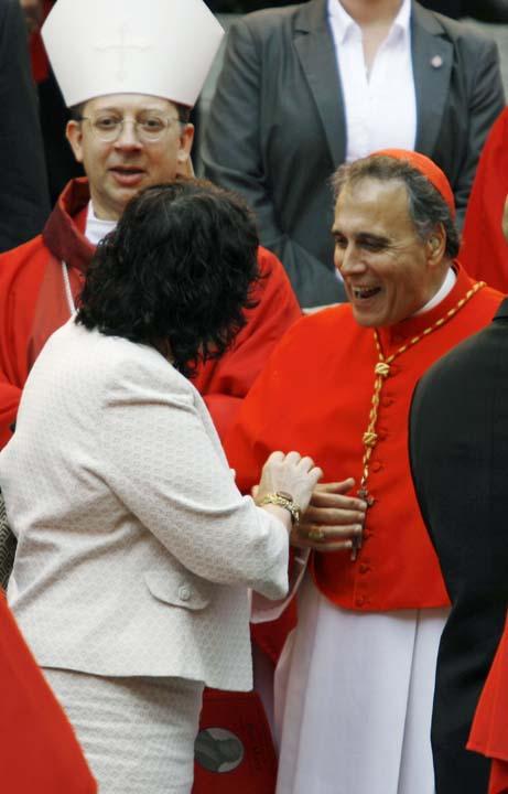 <div class='meta'><div class='origin-logo' data-origin='AP'></div><span class='caption-text' data-credit='AP Photo/Jose Luis Magana'>Supreme Court Associate Justice Sonia Sotomayor speaks with Cardinal Daniel DiNardo</span></div>
