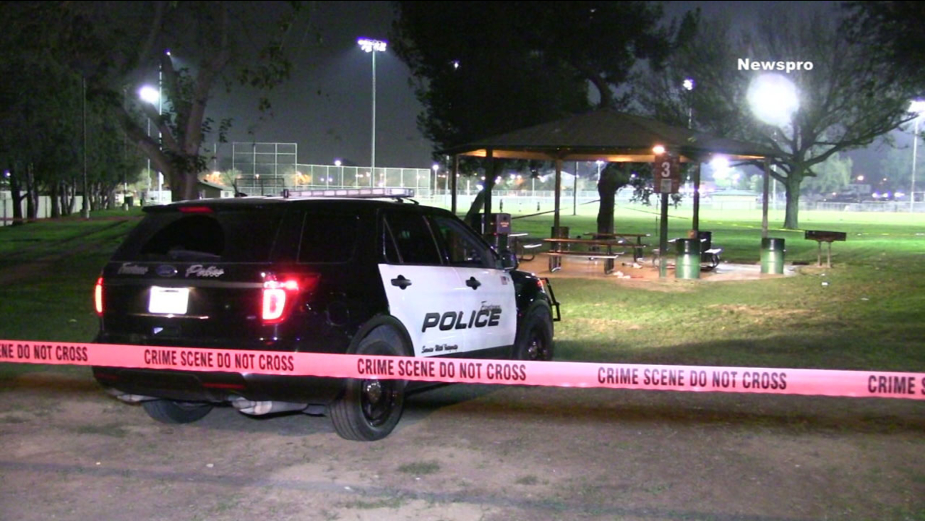 Authorities closed off an area in Veteran's Park in Fontana after two men were found suffering from gunshot wounds on Tuesday, Nov. 15, 2016.